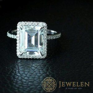 Emerald Cut Moissanite Halo Style 925 Silver Ring